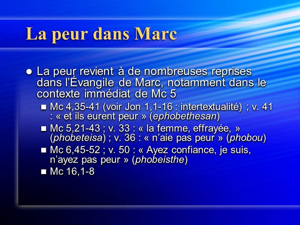 La peur dans Marc La peur revient à de nombreuses reprises dans l'Évangile de Marc, notamment dans le contexte immédiat de Mc 5 La peur revient à de nombreuses reprises dans l'Évangile de Marc, notamment dans le contexte immédiat de Mc 5 Mc 4,35-41 (voir Jon 1,1-16 : intertextualité) ; v.