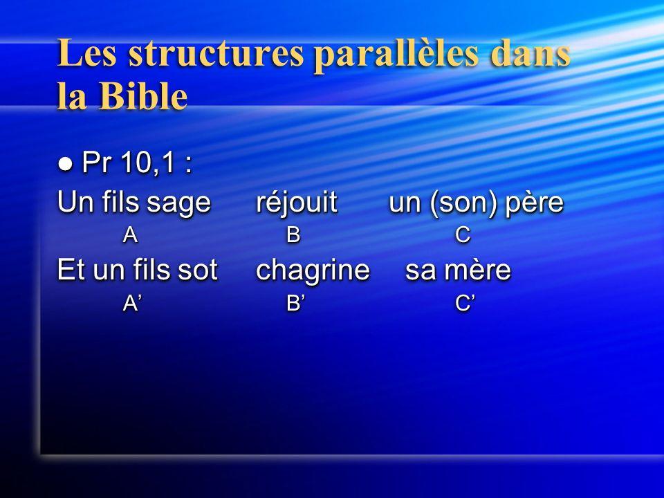 Les structures parallèles dans la Bible Pr 10,1 : Pr 10,1 : Un fils sageréjouitun (son) père A BC Et un fils sotchagrine sa mère A' B'C' Pr 10,1 : Pr 10,1 : Un fils sageréjouitun (son) père A BC Et un fils sotchagrine sa mère A' B'C'