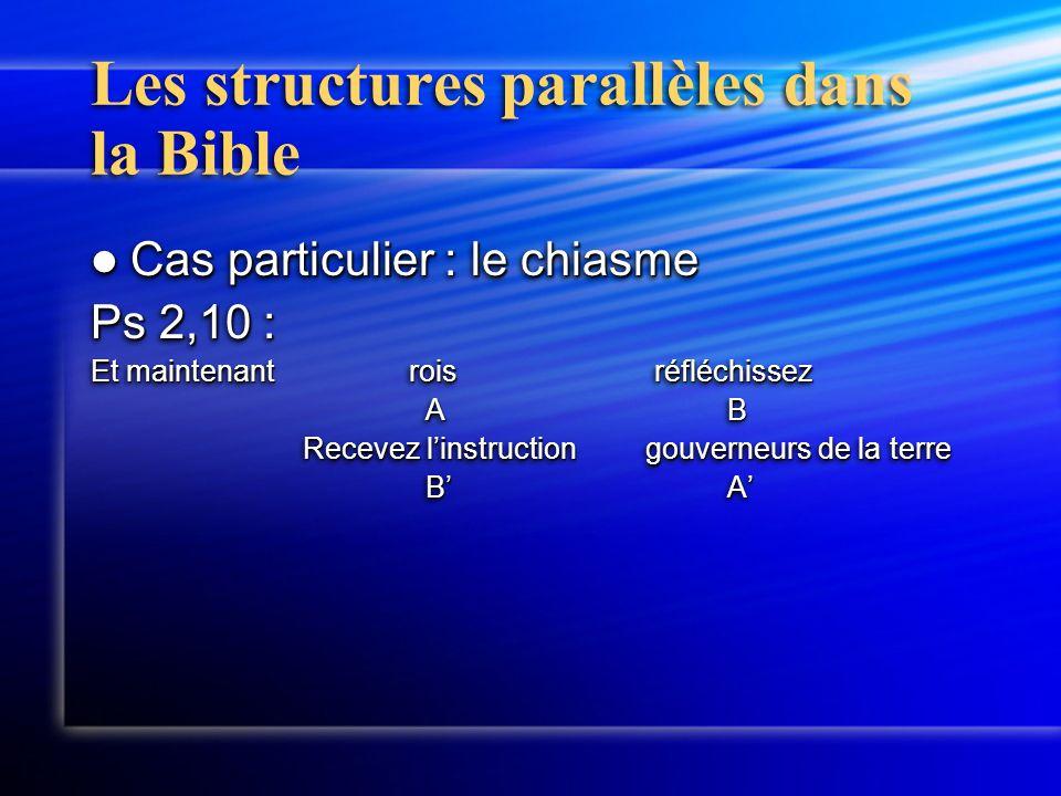Les structures parallèles dans la Bible Cas particulier : le chiasme Cas particulier : le chiasme Ps 2,10 : Et maintenantrois réfléchissez AB AB Recevez l'instruction gouverneurs de la terre Recevez l'instruction gouverneurs de la terre B'A' B'A' Cas particulier : le chiasme Cas particulier : le chiasme Ps 2,10 : Et maintenantrois réfléchissez AB AB Recevez l'instruction gouverneurs de la terre Recevez l'instruction gouverneurs de la terre B'A' B'A'