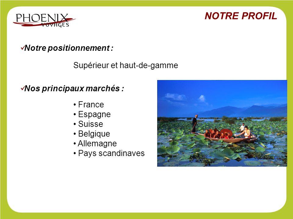 Notre positionnement : Supérieur et haut-de-gamme Nos principaux marchés : France Espagne Suisse Belgique Allemagne Pays scandinaves NOTRE PROFIL