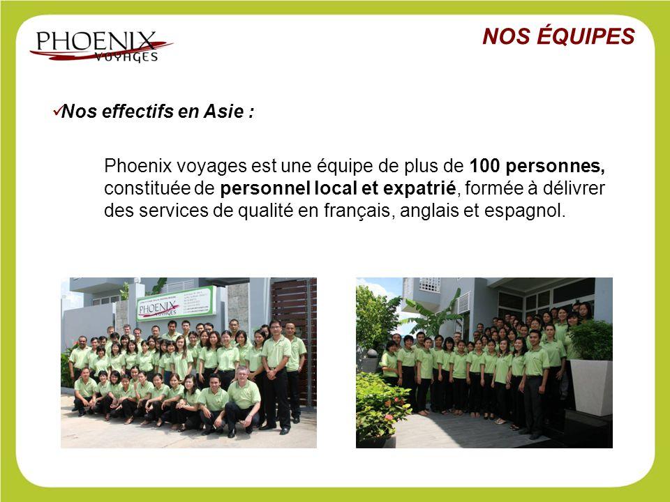 Nos effectifs en Asie : Phoenix voyages est une équipe de plus de 100 personnes, constituée de personnel local et expatrié, formée à délivrer des serv