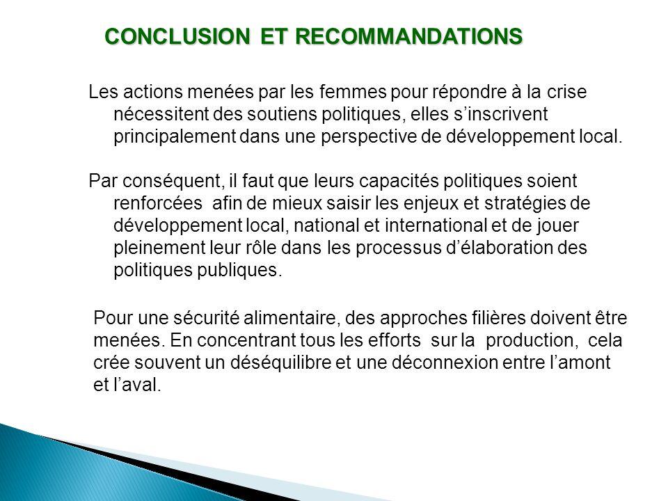 CONCLUSION ET RECOMMANDATIONS Les actions menées par les femmes pour répondre à la crise nécessitent des soutiens politiques, elles s'inscrivent principalement dans une perspective de développement local.
