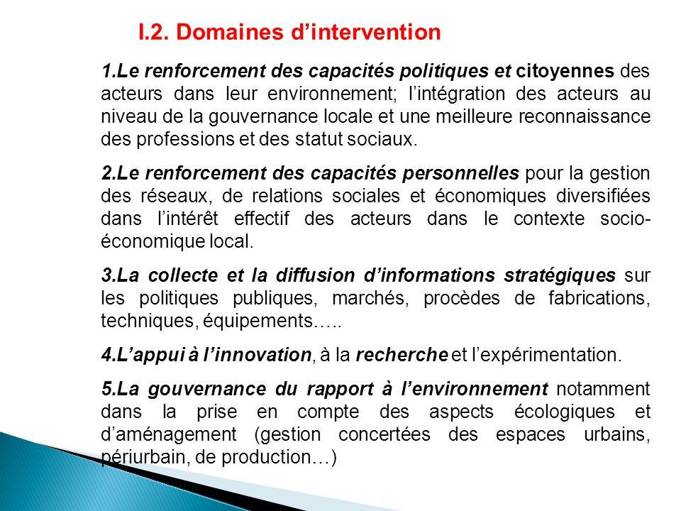 I.2. Domaines d'intervention 1.Le renforcement des capacités politiques et citoyennes des acteurs dans leur environnement; l'intégration des acteurs a