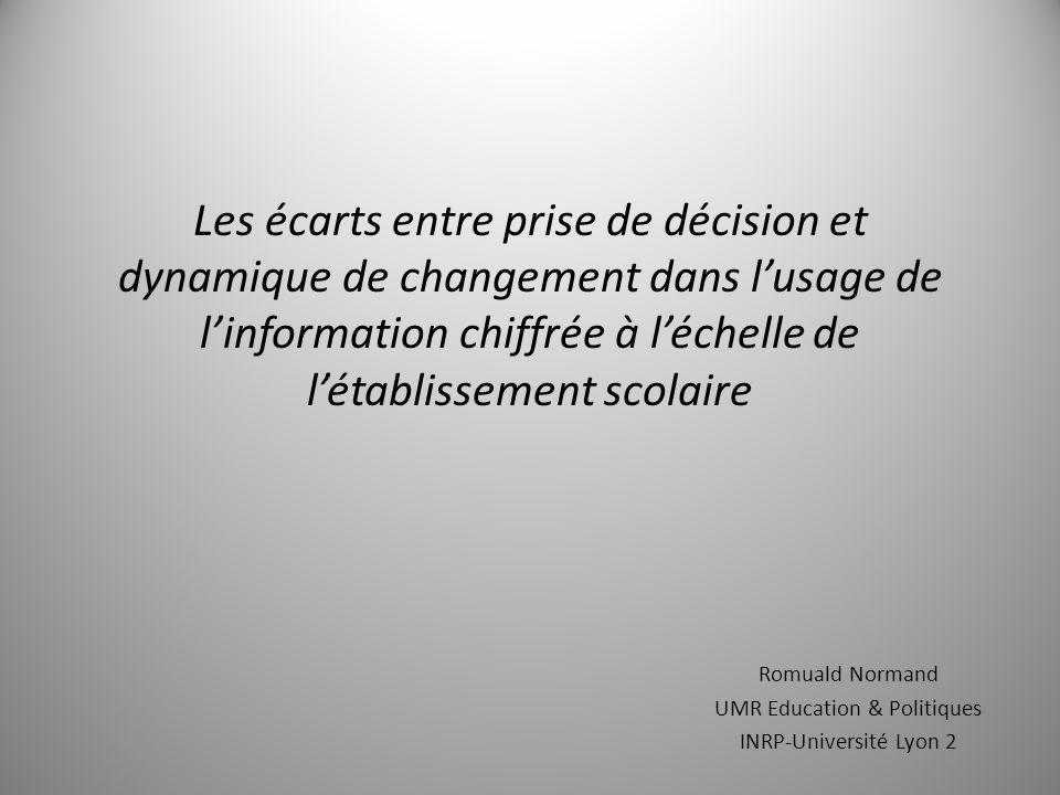 Les écarts entre prise de décision et dynamique de changement dans l'usage de l'information chiffrée à l'échelle de l'établissement scolaire Romuald Normand UMR Education & Politiques INRP-Université Lyon 2