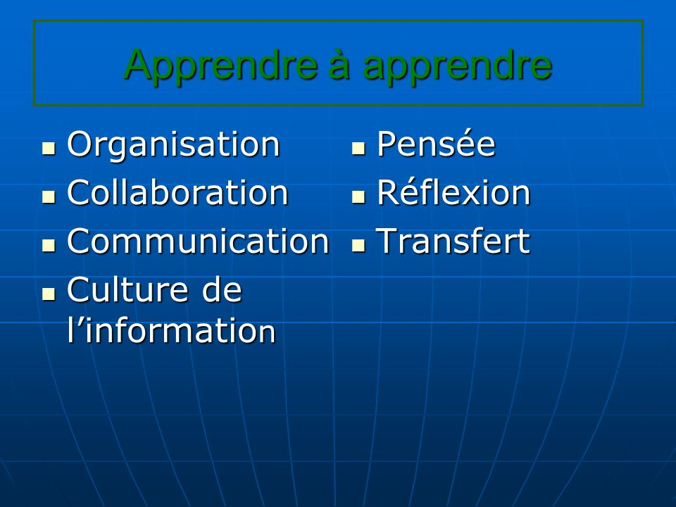 Apprendre à apprendre Organisation Organisation Collaboration Collaboration Communication Communication Culture de l'informatio n Culture de l'informatio n Pensée Pensée Réflexion Réflexion Transfert Transfert