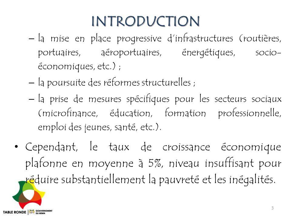 INTRODUCTION – la mise en place progressive d'infrastructures (routières, portuaires, aéroportuaires, énergétiques, socio- économiques, etc.) ; – la p