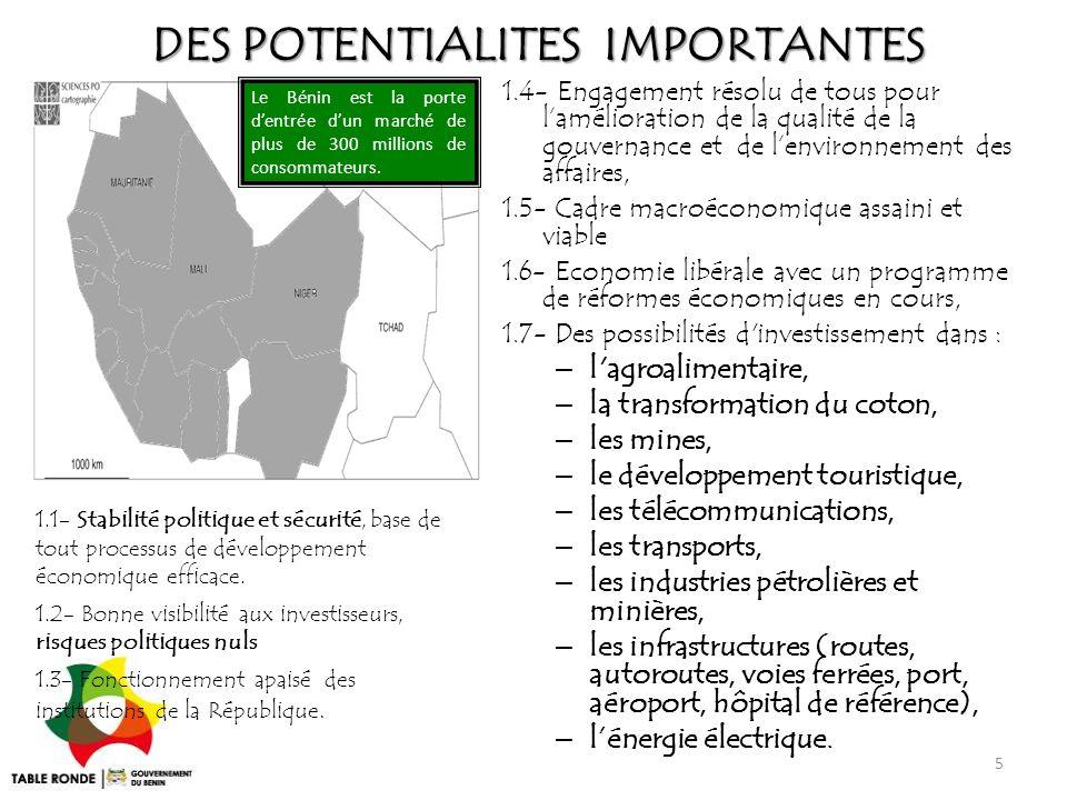 DES POTENTIALITES IMPORTANTES Le Bénin est la porte d'entrée d'un marché de plus de 300 millions de consommateurs. 1.4- Engagement résolu de tous pour