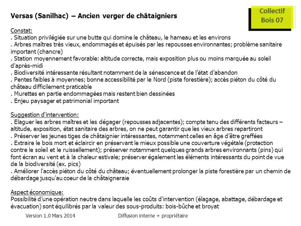 Version 1.0 Mars 2014Diffusion interne + propriétaire Versas (Sanilhac) – Ancien verger de châtaigniers Constat:.