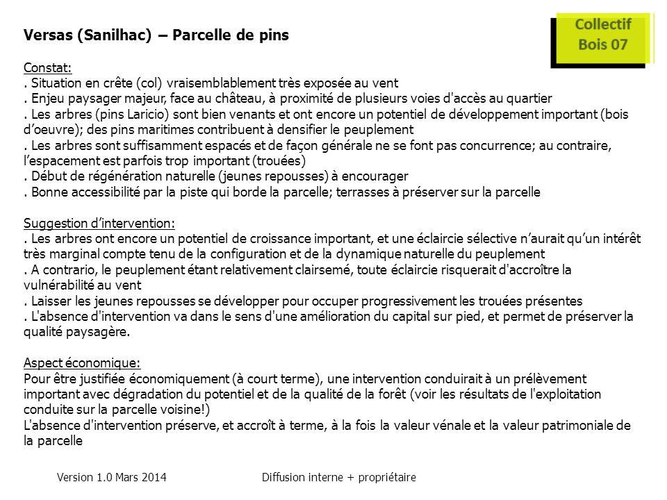 Version 1.0 Mars 2014Diffusion interne + propriétaire Versas (Sanilhac) – Parcelle de pins Constat:.