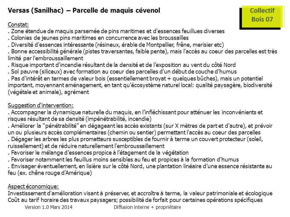Version 1.0 Mars 2014Diffusion interne + propriétaire Versas (Sanilhac) – Parcelle de maquis cévenol Constat:.