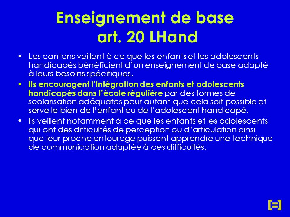 Enseignement de base art.