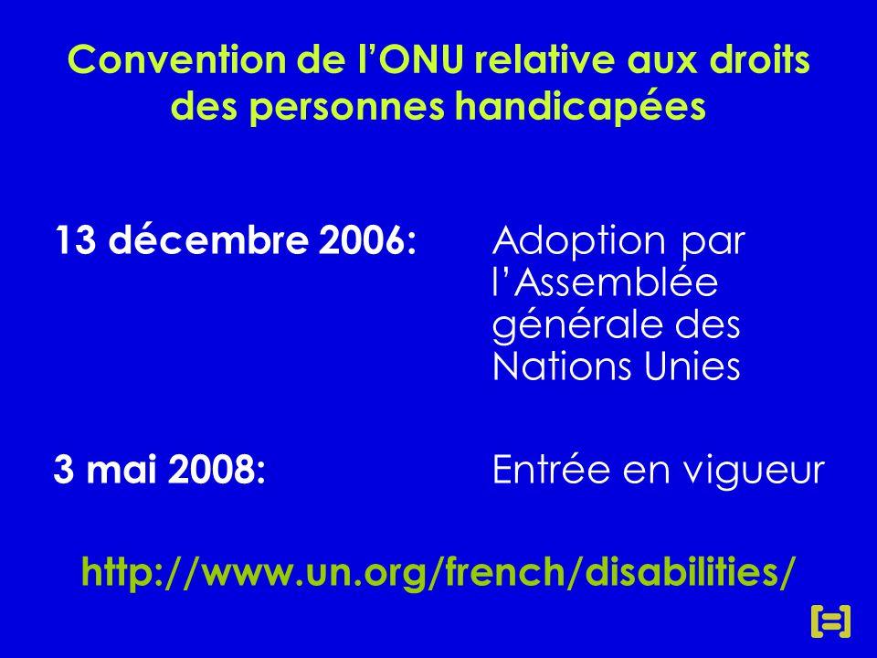 13 décembre 2006: Adoption par l'Assemblée générale des Nations Unies 3 mai 2008: Entrée en vigueur http://www.un.org/french/disabilities/