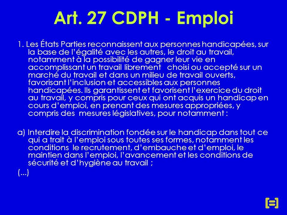Art. 27 CDPH - Emploi 1.