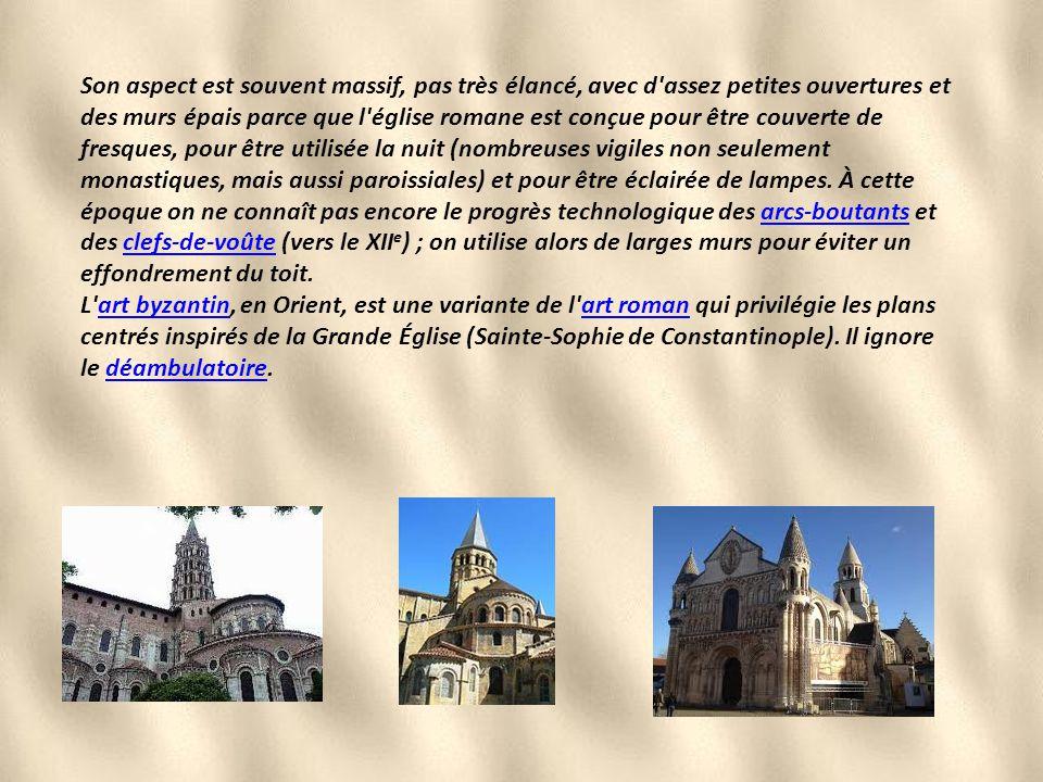 ] Basilique romane de Paray-le-MonialParay-le-Monial Il se reconnaît principalement par l'emploi de l'arc en plein cintre, qui forme un demi-cercle pa