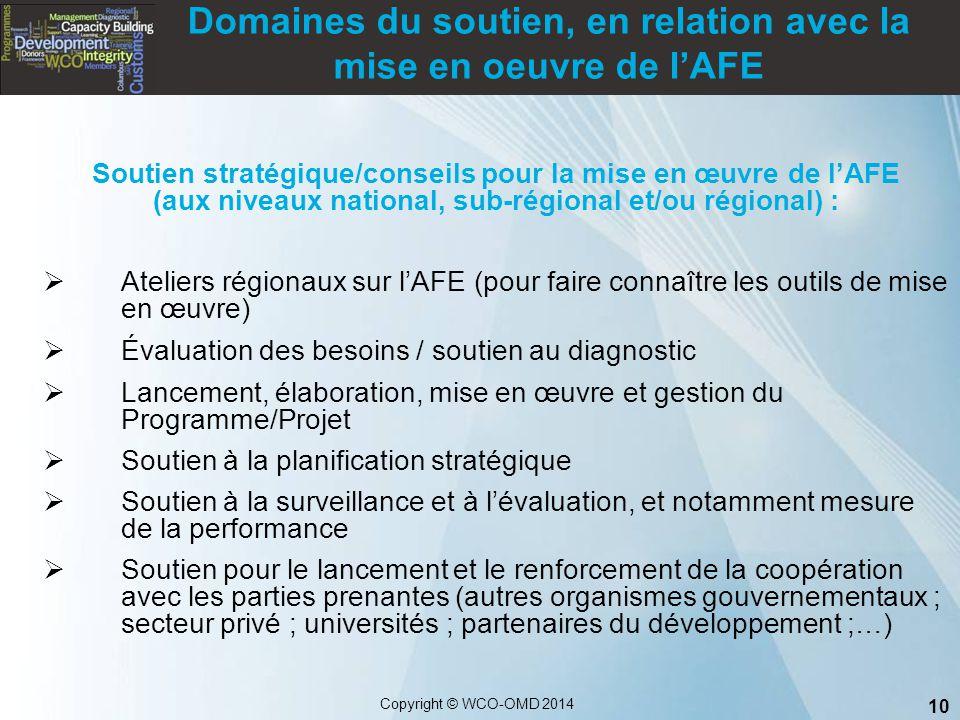 10 Copyright © WCO-OMD 2014 Soutien stratégique/conseils pour la mise en œuvre de l'AFE (aux niveaux national, sub-régional et/ou régional) :  Atelie