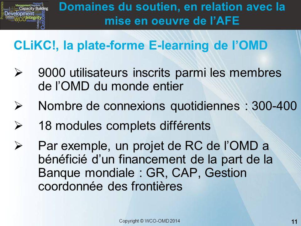11 Copyright © WCO-OMD 2014 CLiKC!, la plate-forme E-learning de l'OMD  9000 utilisateurs inscrits parmi les membres de l'OMD du monde entier  Nombr