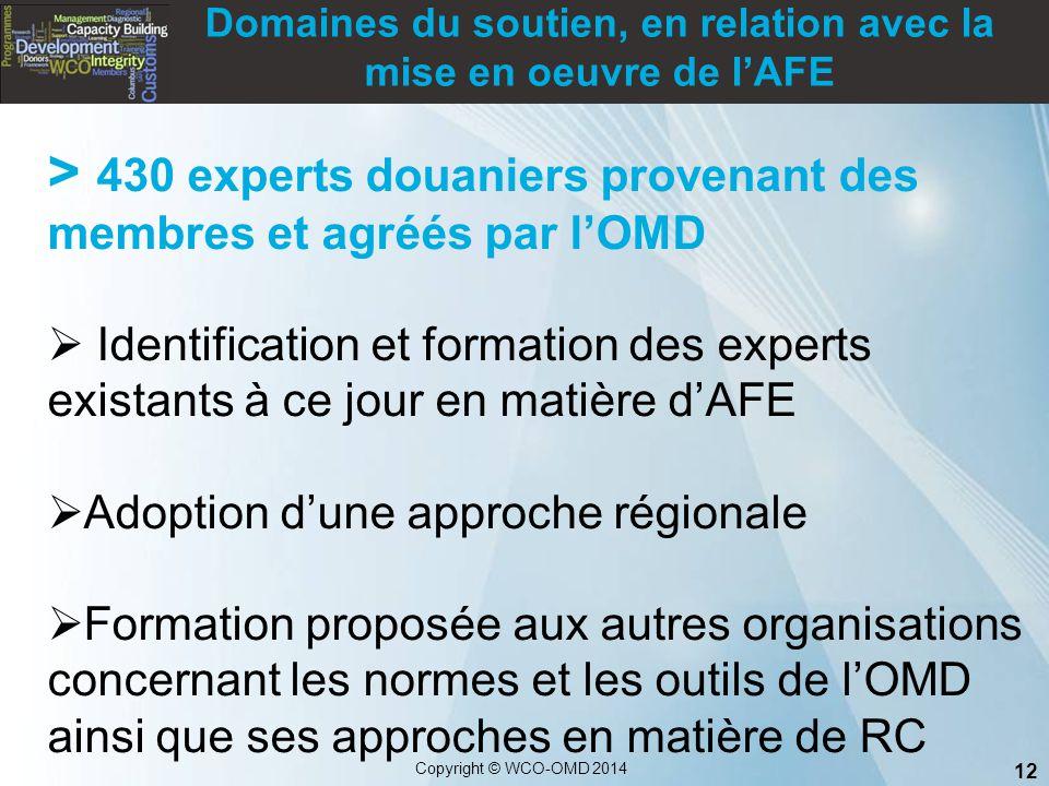 12 Copyright © WCO-OMD 2014 > 430 experts douaniers provenant des membres et agréés par l'OMD  Identification et formation des experts existants à ce