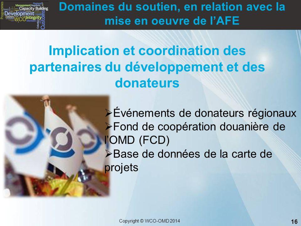16 Copyright © WCO-OMD 2014  Événements de donateurs régionaux  Fond de coopération douanière de l'OMD (FCD)  Base de données de la carte de projet