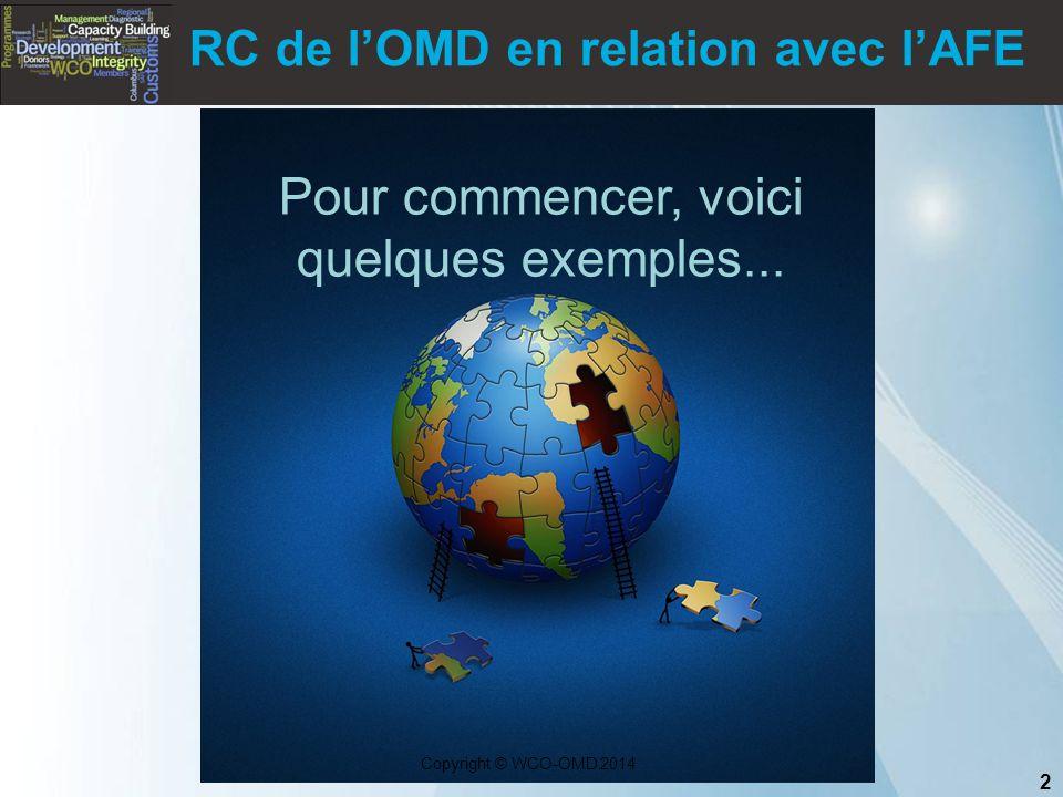 2 Copyright © WCO-OMD 2014 RC de l'OMD en relation avec l'AFE Pour commencer, voici quelques exemples...