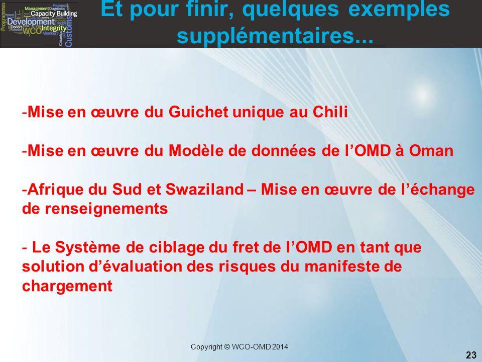 23 Copyright © WCO-OMD 2014 Et pour finir, quelques exemples supplémentaires... -Mise en œuvre du Guichet unique au Chili -Mise en œuvre du Modèle de