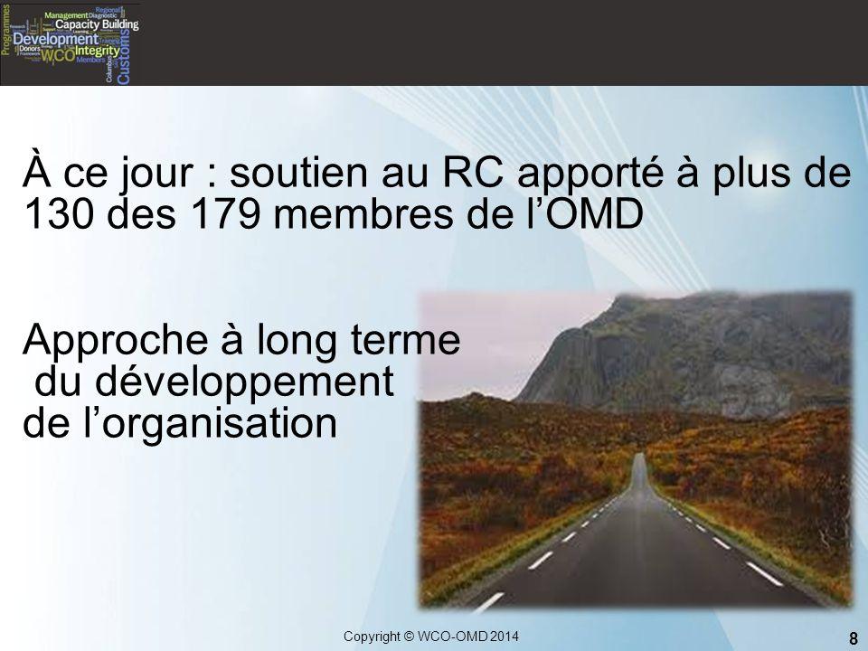 8 Copyright © WCO-OMD 2014 À ce jour : soutien au RC apporté à plus de 130 des 179 membres de l'OMD Approche à long terme du développement de l'organi