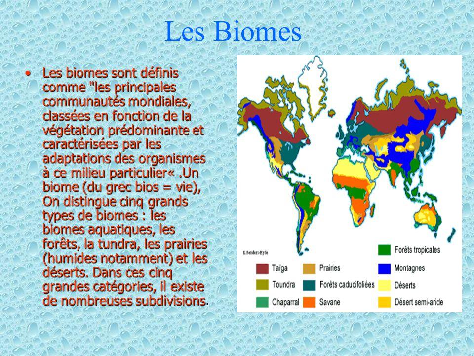 Les Biomes Les biomes sont définis comme les principales communautés mondiales, classées en fonction de la végétation prédominante et caractérisées par les adaptations des organismes à ce milieu particulier«.Un biome (du grec bios = vie), On distingue cinq grands types de biomes : les biomes aquatiques, les forêts, la tundra, les prairies (humides notamment) et les déserts.