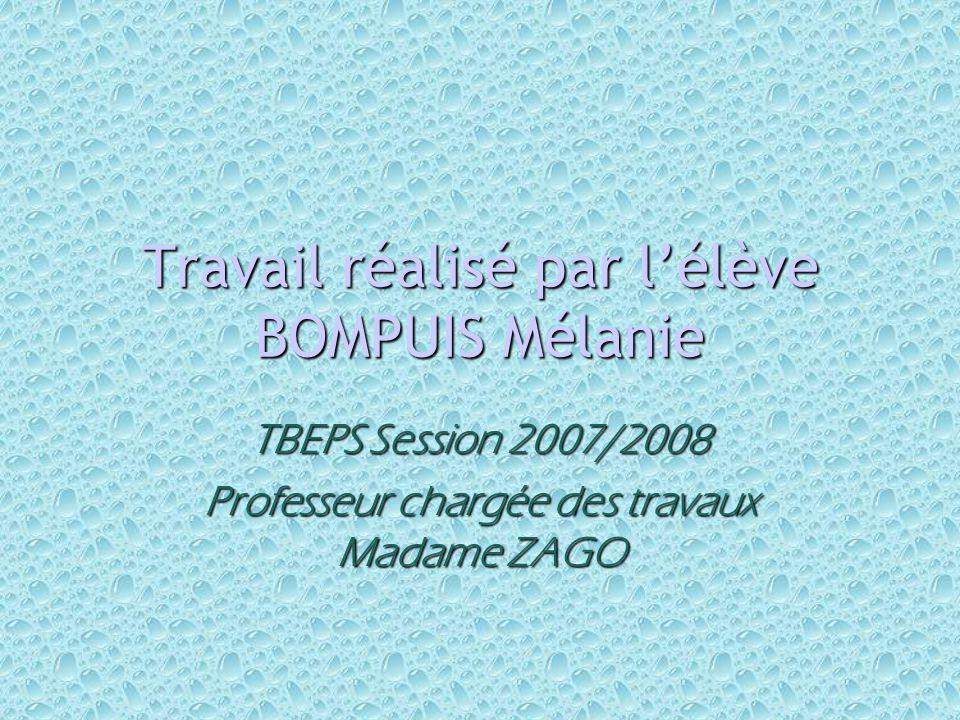Travail réalisé par l'élève BOMPUIS Mélanie TBEPS Session 2007/2008 Professeur chargée des travaux Madame ZAGO
