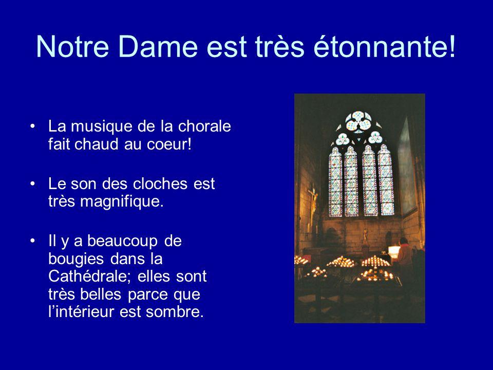Les gargouilles Elles protègent la cathédrale des mauvais fantômes. Elles sont aussi les caniveaux pour la pluie. Elles sont très célèbres.