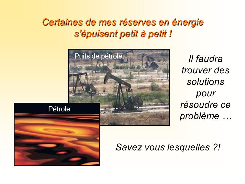 Certaines de mes réserves en énergie s'épuisent petit à petit ! Puits de pétrole Pétrole Il faudra trouver des solutions pour résoudre ce problème … S