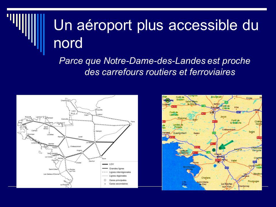 Un aéroport plus accessible du nord Parce que Notre-Dame-des-Landes est proche des carrefours routiers et ferroviaires