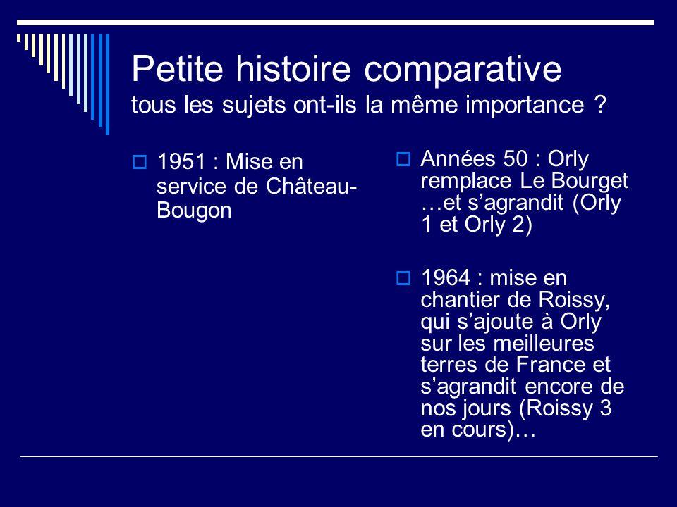 Petite histoire comparative tous les sujets ont-ils la même importance .