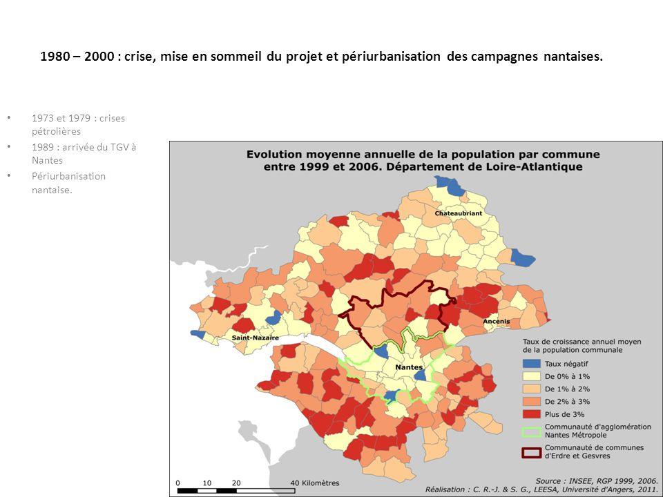 1980 – 2000 : crise, mise en sommeil du projet et périurbanisation des campagnes nantaises. 1973 et 1979 : crises pétrolières 1989 : arrivée du TGV à