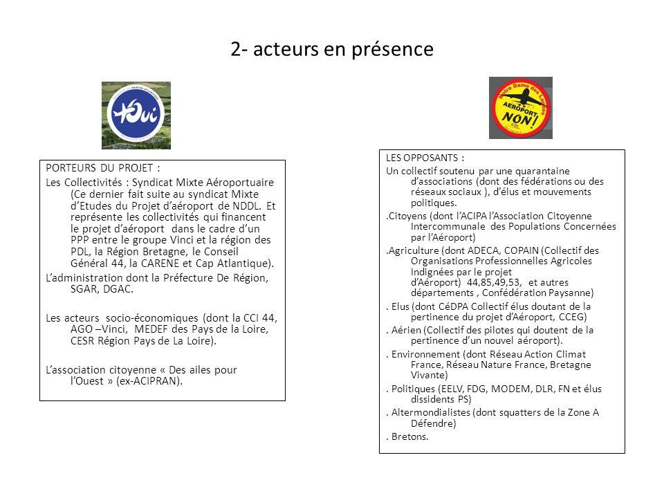 2- acteurs en présence LES OPPOSANTS : Un collectif soutenu par une quarantaine d'associations (dont des fédérations ou des réseaux sociaux ), d'élus