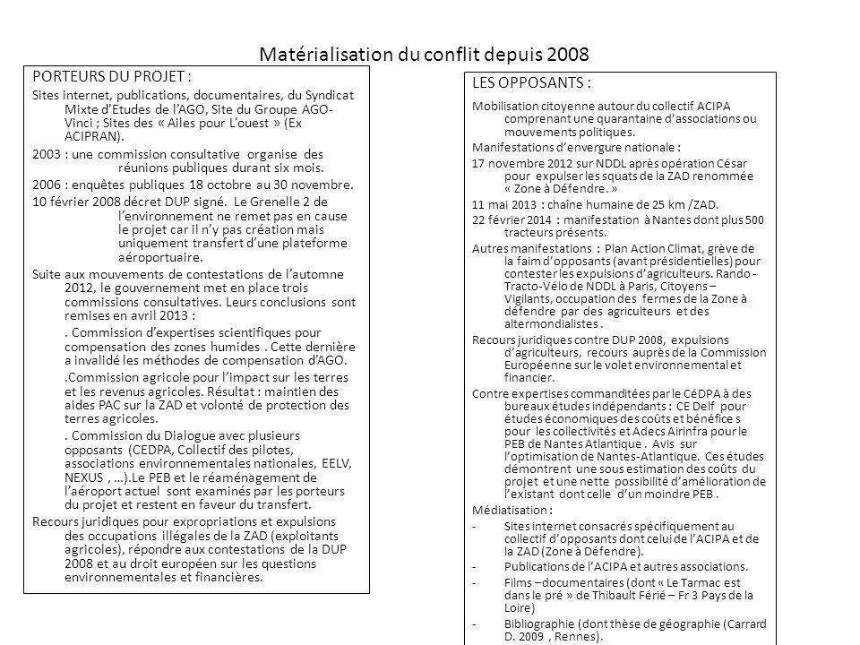 Matérialisation du conflit depuis 2008 LES OPPOSANTS : Mobilisation citoyenne autour du collectif ACIPA comprenant une quarantaine d'associations ou m