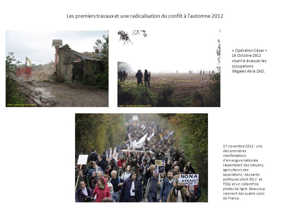 Les premiers travaux et une radicalisation du conflit à l'automne 2012 17 novembre 2012 : une des premières manifestations d'envergure nationale rasse