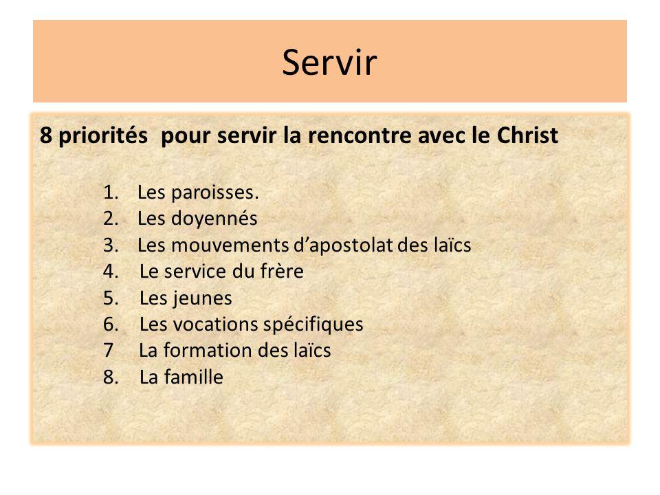 Servir 8 priorités pour servir la rencontre avec le Christ 1. Les paroisses. 2. Les doyennés 3. Les mouvements d'apostolat des laïcs 4. Le service du