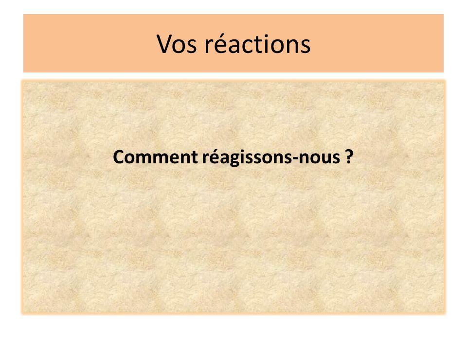 Vos réactions Comment réagissons-nous ?