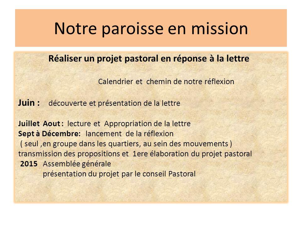 Notre paroisse en mission Réaliser un projet pastoral en réponse à la lettre Calendrier et chemin de notre réflexion Juin : découverte et présentation