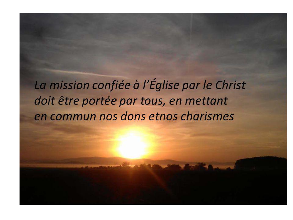 La mission confiée à l'Église par le Christ doit être portée par tous, en mettant en commun nos dons etnos charismes