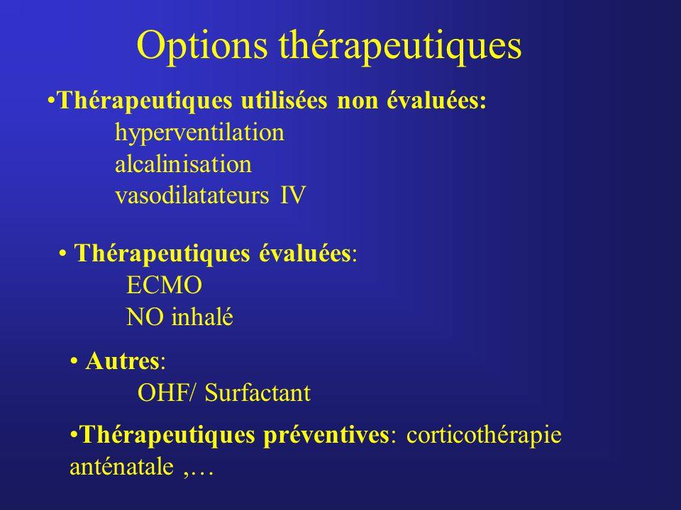 Options thérapeutiques Thérapeutiques utilisées non évaluées: hyperventilation alcalinisation vasodilatateurs IV Thérapeutiques évaluées: ECMO NO inha