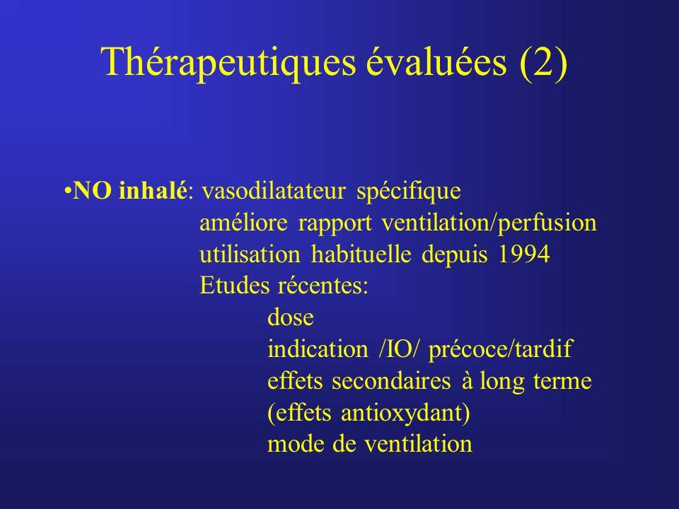Thérapeutiques évaluées (2) NO inhalé: vasodilatateur spécifique améliore rapport ventilation/perfusion utilisation habituelle depuis 1994 Etudes réce