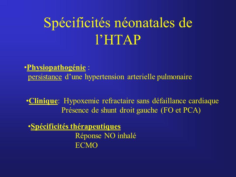 Spécificités néonatales de l'HTAP Physiopathogénie : persistance d'une hypertension arterielle pulmonaire Clinique: Hypoxemie refractaire sans défaill