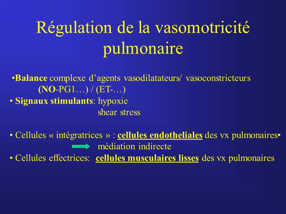 Régulation de la vasomotricité pulmonaire Balance complexe d'agents vasodilatateurs/ vasoconstricteurs (NO-PG1…) / (ET-…) Signaux stimulants: hypoxie