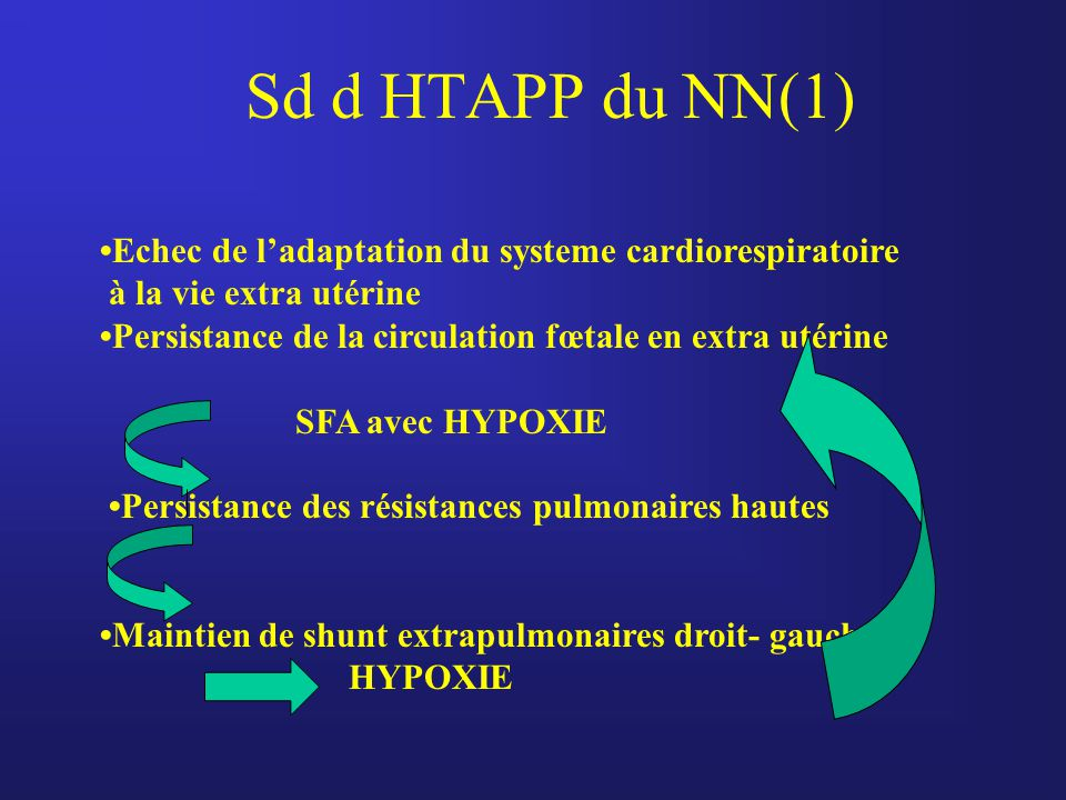 Sd d HTAPP du NN(1) Echec de l'adaptation du systeme cardiorespiratoire à la vie extra utérine Persistance de la circulation fœtale en extra utérine S
