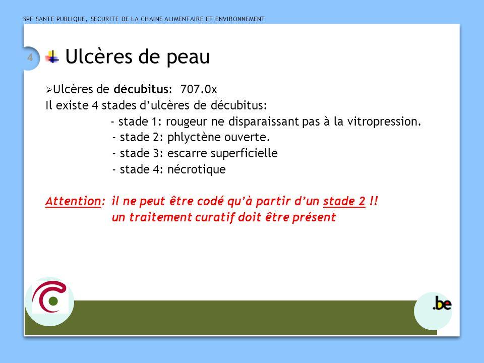 SPF SANTE PUBLIQUE, SECURITE DE LA CHAINE ALIMENTAIRE ET ENVIRONNEMENT 5 Ulcères de peau  Ulcères d'origine veineuse: - variqueux: 454.0 - sur hypertension veineuse chronique: 459.31+ 707.1x - sur syndrome post-phlébitique: 459.11+ 707.1x  Ulcères d'origine artérielle: 440.23 + 707.1X  Ulcères diabétiques: 250.8X + 707.1X Ulcères sur artérite diabétique: 250.8X + 250.7X + 443.81 + 707.1X Ulcères sur polyneuropathie diabétique: 250.8X + 250.6X + 357.2 + 707.1X  Ulcères chroniques de peau sauf décubitus: 707.1 X