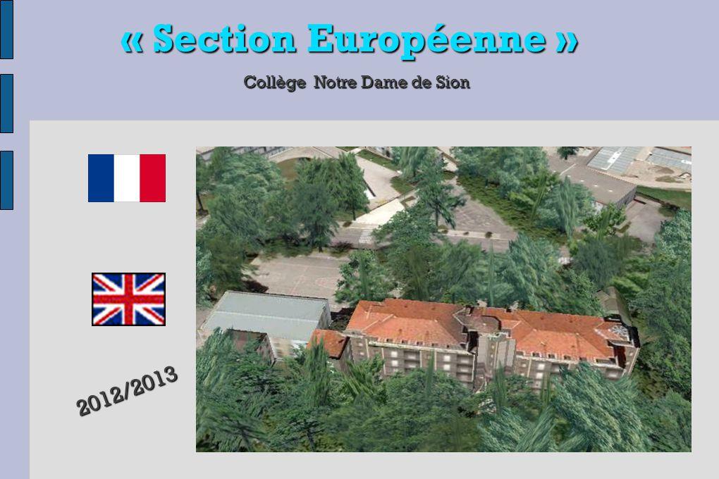 « Section Européenne » Collège Notre Dame de Sion 1) Crées en 1992 par l' Education Nationale H ISTOIRE DES SECTIONS EUROPÉENNES (4) 2) En 2012, près de 230 000 élèves les fréquentent dans 4 500 sections sur plus de 56 départements 3) Une croissance de 15% / an, l'académie de Grenoble étant classée 2 ème en France, il faut attraper le train en marche ….