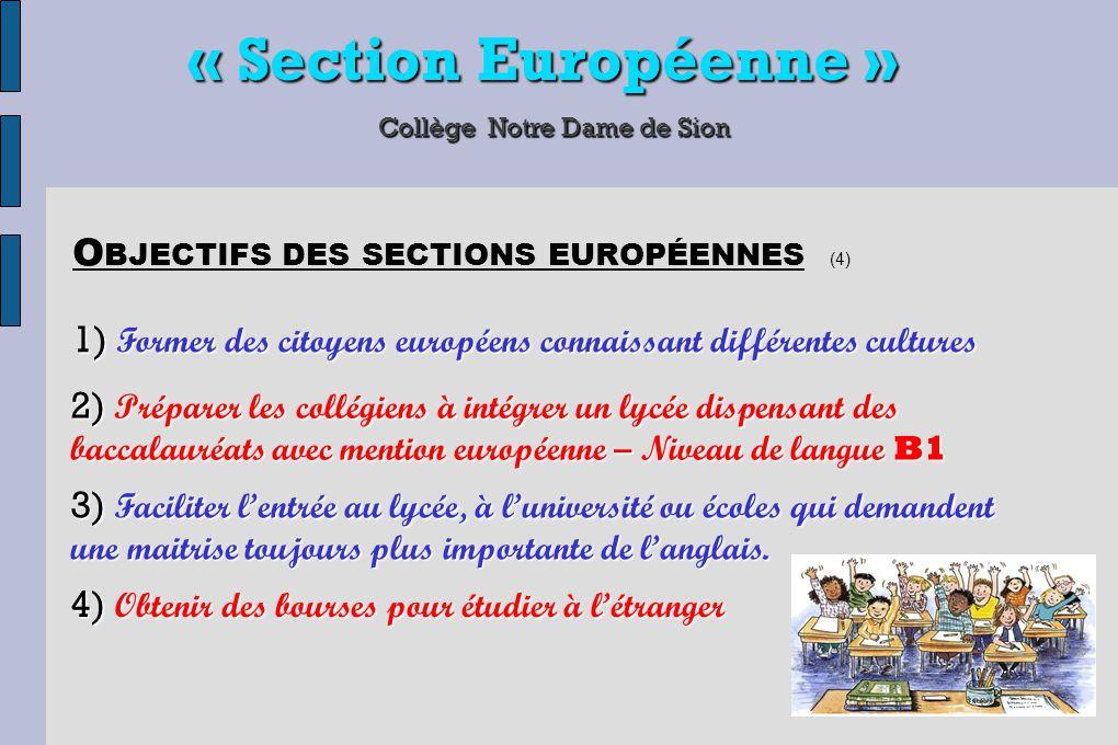 « Section Européenne » Collège Notre Dame de Sion 1) Former des citoyens européens connaissant différentes cultures O BJECTIFS DES SECTIONS EUROPÉENNE