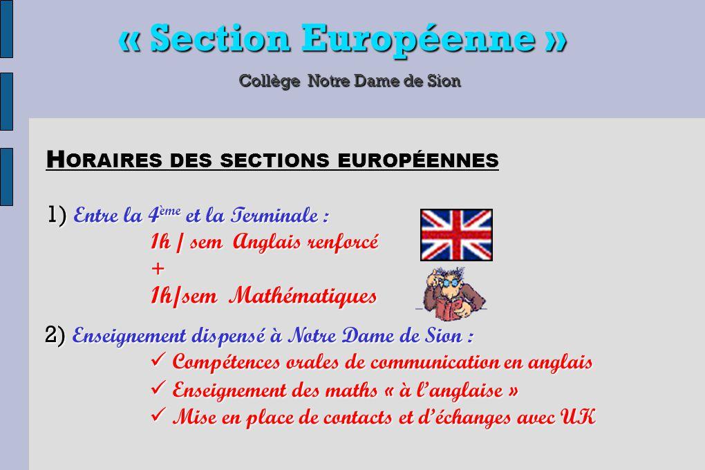 « Section Européenne » Collège Notre Dame de Sion 1) Entre la 4 ème et la Terminale : 1h / sem Anglais renforcé + 1h/sem Mathématiques H ORAIRES DES S
