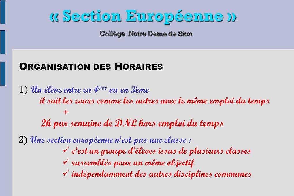 « Section Européenne » Collège Notre Dame de Sion 1) Un élève entre en 4 ème ou en 3ème il suit les cours comme les autres avec le même emploi du temp