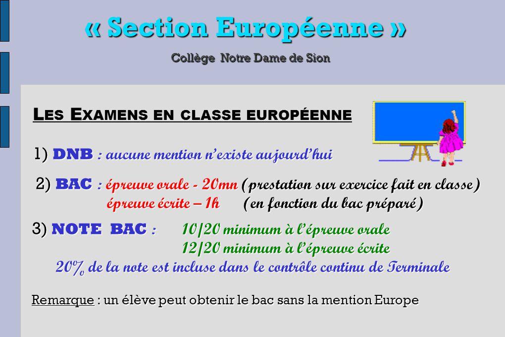 « Section Européenne » Collège Notre Dame de Sion 1) DNB : aucune mention n'existe aujourd'hui L ES E XAMENS EN CLASSE EUROPÉENNE 2) BAC : épreuve ora
